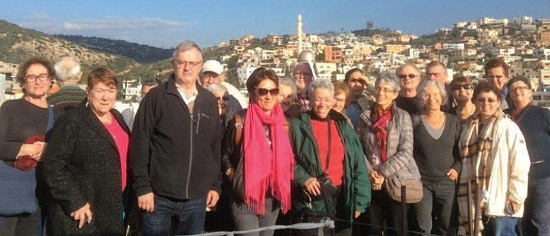 The coach party of ESRAmagazine folk on their day out make a visit to Israeli West Barta'a.  Photo: Lydia Aisenberg
